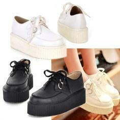 New Fashion Women\'s Round Toe Synthetic Leather High Platform Shoe Retro Flat Shoes