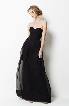 Chiffon Black A-line  Strapless  Sweetheart Floor-length Bridesmaid Dresses