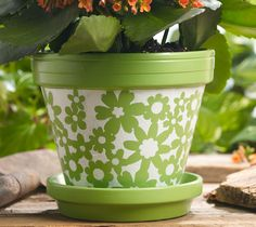 stencil painted pot