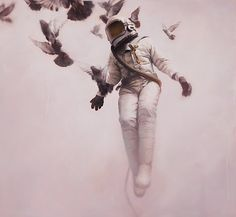astronaunt being carried away by birds