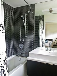 Black and white exposed brick bathroom. All Modern. http://www.kenisahome.com/blog/kenisa-tips-ins/exposedbrick/