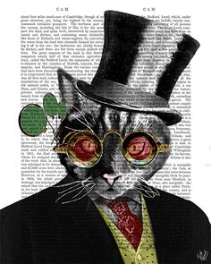 6023f2f89 Mad Hatter Cat - Cheshire Cat Art Mad Hatter Gift for alice lover Alice in  wonderland book print mad hatter tea party