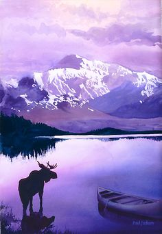 """""""Majesty"""" Moose Wildlife Watercolor, Paul Jackson - The purple mountains and late-in-the-day sky are reflected in a high mountain lake, a sight admired by a visiting moose. This striking Paul Jackson watercolor is one of a series by the artist featuring wildlife."""
