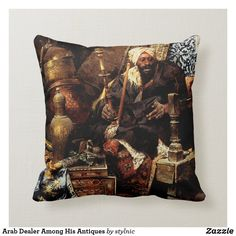Arab Dealer Among His Antiques Throw Pillow