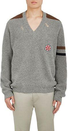 Lanvin Men's Distressed Rib-Knit Alpaca-Wool Sweater