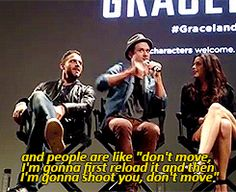 Aaron Tveit explaining what it was like to use flintlock muskets in Les Mis (gif). Pretty much the most hilariously epic thing evah.