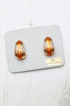 1980s Cabouchon Orange Enamel & Gold Deco Earrings [Cabouchon ...
