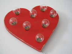 """10""""  distressed red heart wall light. $50.00, via Etsy."""