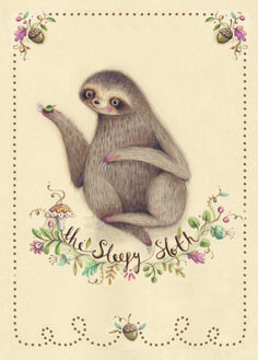 sloth illustration watercolour little things