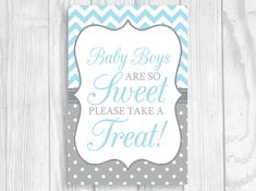 SALE Baby Boys Are So Sweet Please Take A Treat Blue and Gray Boy's Baby Shower Candy Buffet or Dessert Table SIgn by WeddingsBySusan