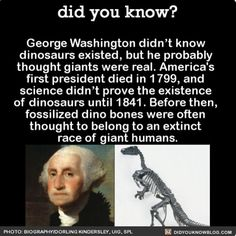 Poor George missed out on so much.  #dinosaurs #giants #president #georgewashington   Share the helpful knowledge! Tag your friends in the comments.  We post different content on all our different social media channels. Follow all our accounts so you don'