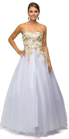White/Gold Poofy Prom Gown Tulle Strapless Lace Bodice #discountdressshop #bridalgown #weddingdress #strapless #formal #prom2k17