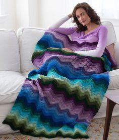 Radiating Ripple Throw Free Crochet Pattern in Red Heart Yarns