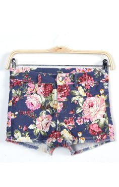 Flowers Printing Denim Shorts