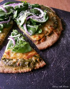 Spinach Pesto Pizza with Mixed Greens recipe - Love Stitched