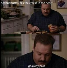 Peanut butter fills the cracks in the heart! This is exactly how I feel when I eat peanut butter out of the jar!