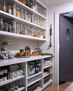 I have a Butlers pantry fetish.if that kitchen wall dosent come down.this could be an alternative. Although for me open storage has its own problems. But the airyness is needed in my kitchen Pantry Laundry Room, Walk In Pantry, Kitchen Pantry, New Kitchen, Kitchen Small, Wall Pantry, Open Pantry, White Pantry, Pantry Doors