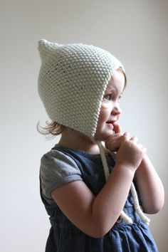 Knit Toddler Pixie Bonnet  Toddler Pixie Hat  by hilaryfrazier
