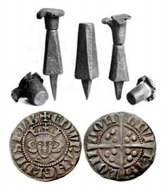 Silver penny of Edward I (1272-1307) & iron stamps - minted in London.  See the original website for great information.