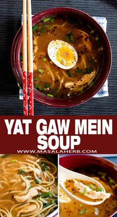 Yat Gaw Mein or Yakamein is a popular Chinese creole flavored clear broth soup. This soup is stuffed with amazing flavors, enhanced with egg noodles, chicken and garnished with a soft boiled egg. perfect easy one-pot weeknight dinner idea all year round! masalaherb.com #creole #chinese #soup Ramen Recipes, Chicken Recipes, Yakamein, Clear Broth Soups, Veal Stew, Healing Soup, French Soup, Indian Soup, Pork Soup
