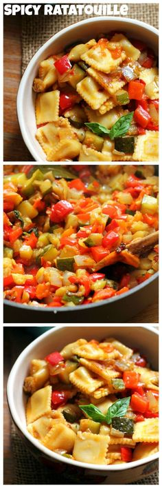 Late summer vegetables get transformed into a rich spicy ratatouille recipe. Serve over cheese ravioli for a hearty pasta dinner!