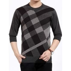 31.58$  Buy now - http://dihhu.justgood.pw/go.php?t=200858215 - Color Block Plaid Print Crew Neck Sweater 31.58$