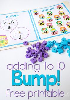 Free Printable Addition Game: Adding to 10 Subtraction Activities, Kindergarten Math Activities, Teaching Math, Preschool Math, Numeracy, Therapy Activities, Addition Games For Kindergarten, Learning Activities, Teaching Ideas