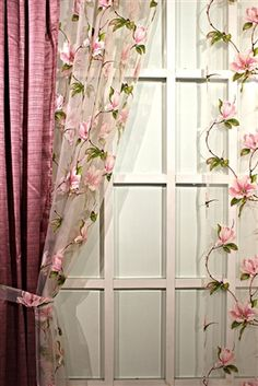 sheer curtains with pink and green floral embroidery Home Curtains, Country Curtains, Sheer Curtains, Shabby Cottage, Shabby Chic Homes, Shabby Chic Decor, Curtain Designs, Curtain Styles, Living Room Decor