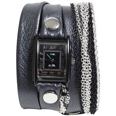 La Mer Chain Watch ❤ liked on Polyvore featuring jewelry, watches, accessories, leather-strap watches, la mer watches, la mer jewelry, leather band watches and rocker jewelry