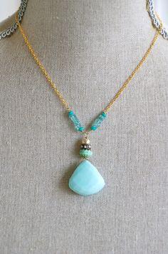 Charlotte. Peruvian opal,apatite gemstone beaded necklace. Tiedupmemories