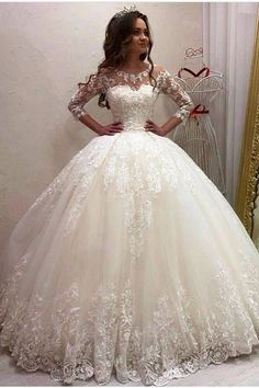 Airy Tulle And Sequin Lace Wedding Dress ★ All types of long sleeve wedding dresses for brides with most exquisite tastes can be found here! dresses lace ballgown 30 Magical Long Sleeve Wedding Dresses For Your Wedding Wedding Dress Trumpet, Wedding Dress Tea Length, Wedding Dress Black, Wedding Robe, Tea Length Bridesmaid Dresses, Classic Wedding Dress, Sweetheart Wedding Dress, Long Sleeve Wedding, Wedding Dress Sleeves