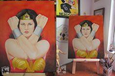 Wonder Woman, óleo sobre tela tamanho 50x60, finalizada para loja virtual. Arte para Nerds e Afins.