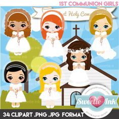Clipart First Communion Girls Kawaii de SweetieInk en Etsy