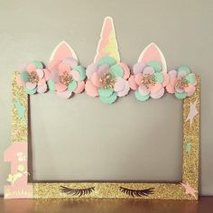 Create UNFORGETTABLE Memories this adorable Unicorn photo booth frame. Unicorn birthday, unicorn first birthday, unicorn baby shower , photo booth frame **I do have various styles for these unicorn frame in my shop ** Unicorn Themed Birthday Party, 1st Birthday Girls, 1st Birthday Parties, Birthday Party Decorations, Baby Shower Photo Booth, Photo Booth Frame, Photo Booths, Unicorn Baby Shower, Shower Baby