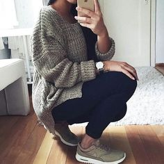knit sweater + air max thea