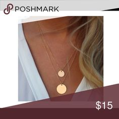 💠SALE💠NWT Gold double disc necklace 🎉BUY ANY 2 ITEMS & GET 3rd ITEM $10 & under FREE!🎉 Dainty and versatile necklace to add a pop to any outfit. PRICE IS FIRM, unless bundled. Summer Paradise Jewelry Necklaces