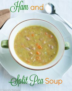 Put it to work in this creamy satisfying Ham and Split Pea Soup! Split Pea Soup Recipe, Pea And Ham Soup, Leftover Ham, Allergy Free Recipes, Food Allergies, Pork Recipes, Soups And Stews, Dairy Free, Stuffed Peppers