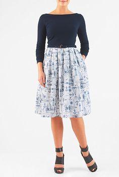 eShakti Women's Nautical print belted mixed media dress 3X-24W Regular Symphony blue/white * Buy now: http://amzn.to/2iECUkh
