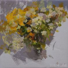 Small Flowers Painting, Autumn Still Life Painting, Yellow Bouquet of Daisies by Yuri Pysar