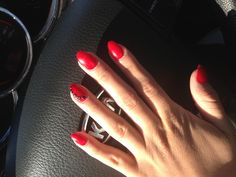 Red nails almond shape black little stars and black rinestones classy look with a touch Red Sparkle Nails, Fancy Nails, Cute Nails, Mani Pedi, Manicure, Pretty Hands, Beautiful Hands, Star Nail Art, La Nails