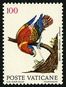 """A parrot on a Vatican City stamp. On June 13, 1989, Vatican City issued a series of eight stamps featuring images of birds. The images are reproductions of original engravings by Eleazar Albin that are featured in """"Histoire Naturelle des Oiseaux,"""" published at The Hague in 1750 and preserved in the library of the Pontifical Lateran University in Rome."""