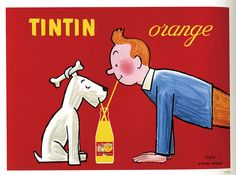 Vintage poster Tintin Orange by Raymond Savignac Retro Poster, Poster Ads, Retro Ads, Poster Prints, Art Prints, Cafe Posters, Dog Poster, Retro Print, Vintage Advertising Posters