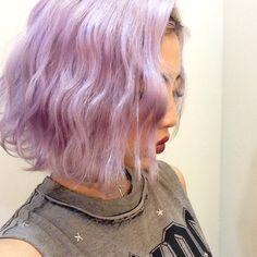Arisa Ueno's waves/pastel lavender hair/ lob