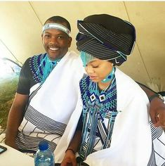 xhosa south africa bride and groom Xhosa Attire, African Attire, African Wear, African Fashion Dresses, African Women, African Dress, African Outfits, African Tribes, African Clothes