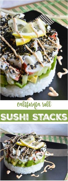 Homemade Sushi Stacks have all of the great flavors of a California Roll! This recipe is perfect for parties, special occasions or a fun dinner night. No special equipment needed! Omit crab and use vegan mayo. Sushi Recipes, Seafood Recipes, Cooking Recipes, I Love Food, Good Food, Yummy Food, California Roll Sushi, California Rolls, Sushi At Home