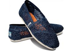 Need these SO bad!!  |  Navy Crochet Toms Womens Classics [Toms_2013117] - $26.80 :