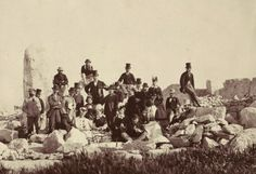 Foreign Visitors at megalith site on Maltese islands 1870s