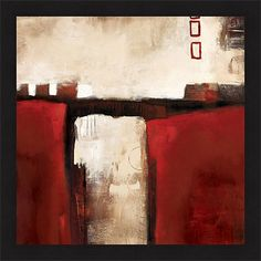 Artist: L. Austin Title: Red Trestle Product type: Framed Print Style: Contemporary Format: Square Size: Large Subject: Abstract Frame: The frame on this art is a flat smooth dark black. Image dimensi