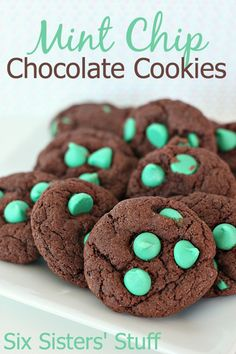 Mint Chip Chocolate Cookies on SixSistersStuff.com