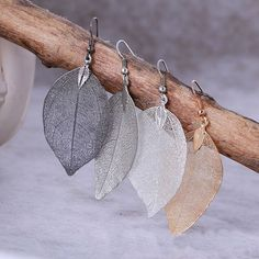 Natural Real Leaf Earrings For Women
